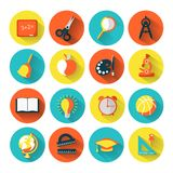 Set of school icons, brightly colored Royalty Free Stock Photography
