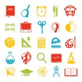Set of school icons, brightly colored. Stock Images