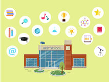 Set of School Icons. Building Book Devices. Vector Stock Image