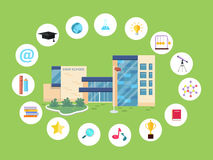 Set of School Icons. Building Book Devices. Vector Royalty Free Stock Photo