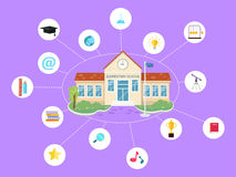 Set of School Icons. Building Book Devices. Vector Stock Photo