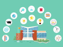 Set of School Icons. Building Book Devices. Vector Royalty Free Stock Image