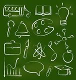 Set school icons in chalk doodle style Stock Image