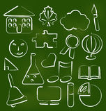 Set school icons in chalk doodle style Stock Photos