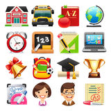Set of School Icons. Set of colorful school icons for your education projects.  on white background. Clipping paths included in JPG file Royalty Free Stock Images