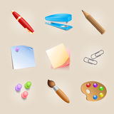 Set of school icons Stock Photo