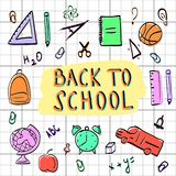 Set school icons. Set for school icons on the topic of study, hand-drawn, coach, ball, globe, rulers, pencils, alarm clock against the background of the cell vector illustration