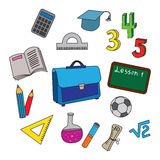 Set of school icons Stock Photography