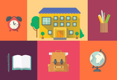 Set of school icons. Set of vectors school icons in a flat style royalty free illustration