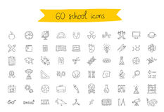Set of 60 school icons. On a white background. Vector illustration. Educational concept Royalty Free Stock Photo