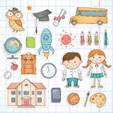 Set of school items. Set of different school items Royalty Free Stock Images