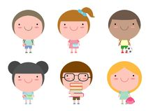 Set of school kids in education concept, back to school Vector Illustration.. Set of school kids in education concept, back to school Vector Illustration Stock Photo