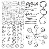 Set of school marks, circle, scribbles,  highlight square frames, Stock Photography