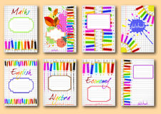 Set of school notebook covers Royalty Free Stock Photo