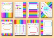 Set of school notebook covers Stock Photo
