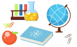 Set from school objects. Apple, globe, test tubes, book, science, clip. Vector flat illustration Stock Photography