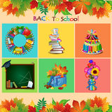 Set of school objects on a different backgrounds Royalty Free Stock Photography
