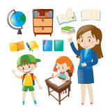 Set of school objects and people at school Royalty Free Stock Photography