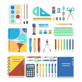 A set for school and office illustartion. Illustration of icons set for school and office work Stock Images