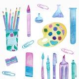 School office: pencils, flasks, paints, paper clips vector illustration