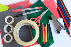 Set of school and office stationery. Royalty Free Stock Photos