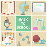 Set of school related flat icons Royalty Free Stock Photography