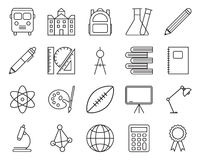 Set of school related  line icons. Contain icons such as shool, bus and book. Editable stroke with 48 x 48 pixel Stock Photo