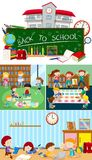 Set of school scenes. Illustration royalty free illustration