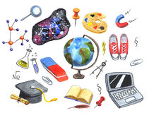 Set of school and science hand drawn icons Stock Photography