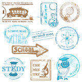 Set of SCHOOL stamps Royalty Free Stock Photos