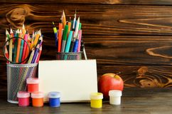 Set of school stationary for creative writing and drawing, copy space. Back to school concept Stock Photography