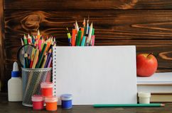 Set of school stationary for creative writing and drawing, copy space. Back to school concept Royalty Free Stock Photos