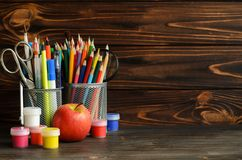 Set of school stationary for creative writing and drawing, copy space. Back to school concept Royalty Free Stock Photo