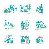 Set with school subjects icons for design. Vector Royalty Free Stock Photo