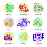 Set with school subjects icons for design. Vector Royalty Free Stock Photography