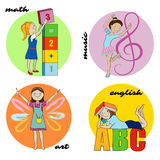 Set of school subjects vector round design Royalty Free Stock Photography