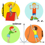 Set of school subjects vector round design Royalty Free Stock Images