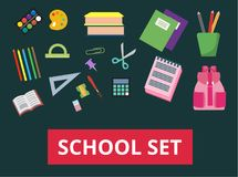 A set of school supplies. Back to school concept. vector illustration