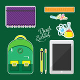 Set of school supplies and computer tablet. Vector illustration Royalty Free Stock Image
