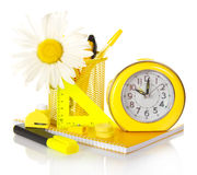 Set of school supplies and the hours Royalty Free Stock Photography