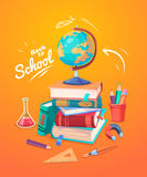 Set of school supplies and icons. Back to school. Back to school. Set of school supplies, globus and stack of books. Vector illustration Stock Photos