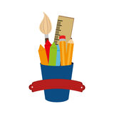 Set school supplies icons Stock Images