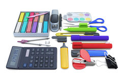Set of school supplies isolated on white background Stock Images