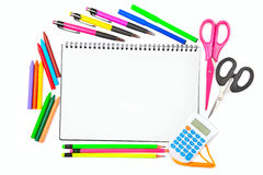 Set school supplies isolated on white background. Royalty Free Stock Photography