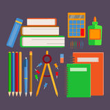 Set school supplies. Set of school supplies, office supplies, a stack of books. Back to school Stock Image