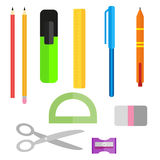 Set of school supplies. Pens pencils scissors and ruler. Pencil sharpener and eraser. Collection of objects in a flat Stock Photos