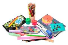 Set of school supplies  on white background Stock Photo