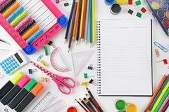 Set of school supplies on white background. Royalty Free Stock Photography