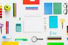 Set of school supplies on white background Stock Photos
