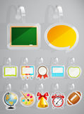 Set of School theme stickers. Stock Images